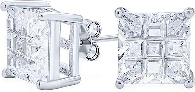 Geometric Cubic Zirconia CZ Square Princess Invisible Cut Stud Boucles d'oreilles pour hommes Femmes Sterling Silver 5 6 7 8 9 10 MM