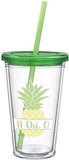 Alpha Chi Omega Nickname Pineapple Sticker on plastic Tumbler Greek Sorority Decal 16 oz. BPA Free AXO
