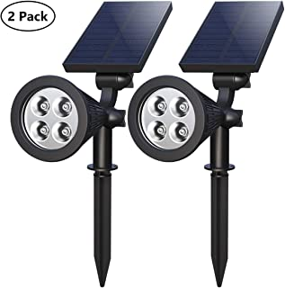 Solar Spotlights,4-LED Solar Landscape Lights 180 ° Adjustable Waterproof Outdoor Security Lighting 2-in-1 Solar Spotlight Auto On/Off for Backyard Driveway Patio Gardens Lawn Pool (2 Pack)