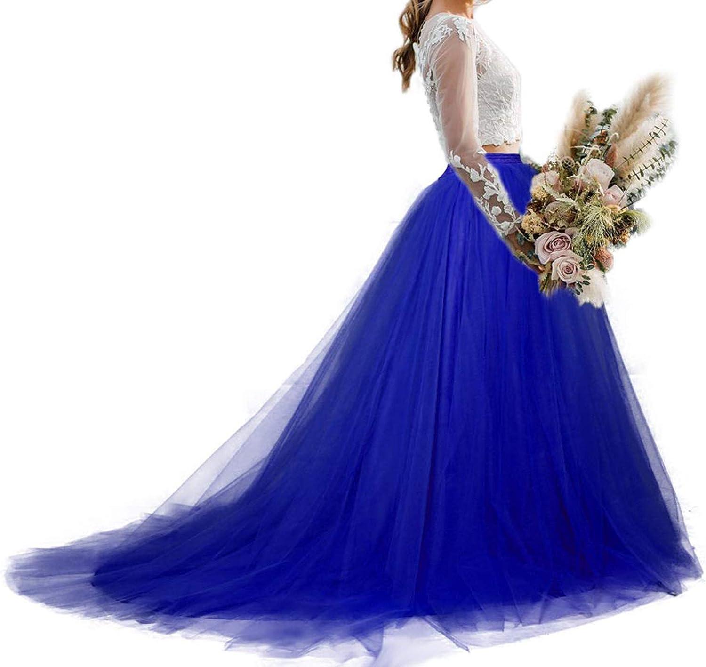 Women Wedding Long Maxi Tulle Skirt Floor Length with Long Train Bridal Overskirt