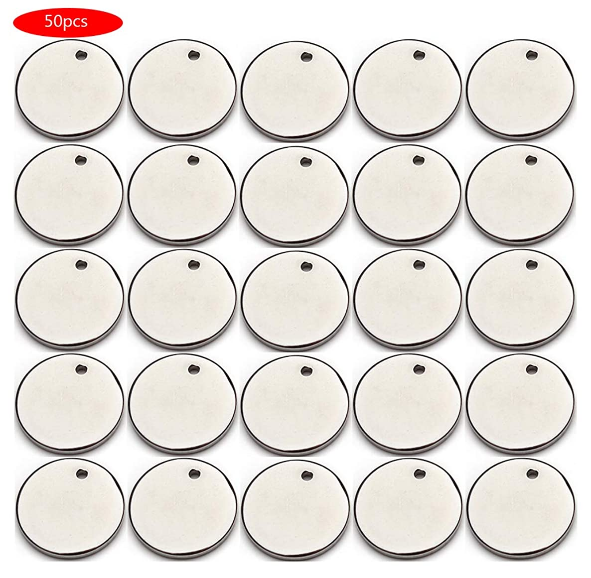 Forise 50pcs Stainless Steel Blank Round Charms Tag Pendants Fits for DIY Bracelet Earring Pendant (silver-20mm)