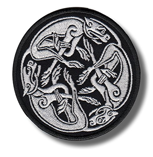 Celtic Hound Knot White - Embroidered Patch, 8x8 cm