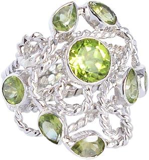 Anillo de cóctel de plata de ley 925 con peridoto verde y elegante para mujer
