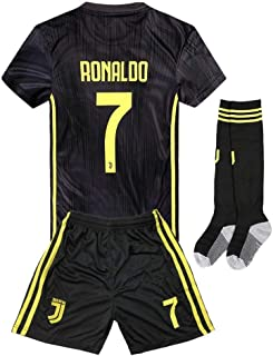 2018-2019 Away Home C Ronaldo  7 Juventus Kids Youth Soccer Jersey   Shorts 19d78b96e