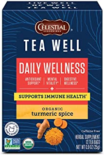 Celestial Seasonings TeaWell Herbal Tea, Daily Wellness, Organic Turmeric Spice, 12 Count (Pack of 6) (Packaging May Vary)