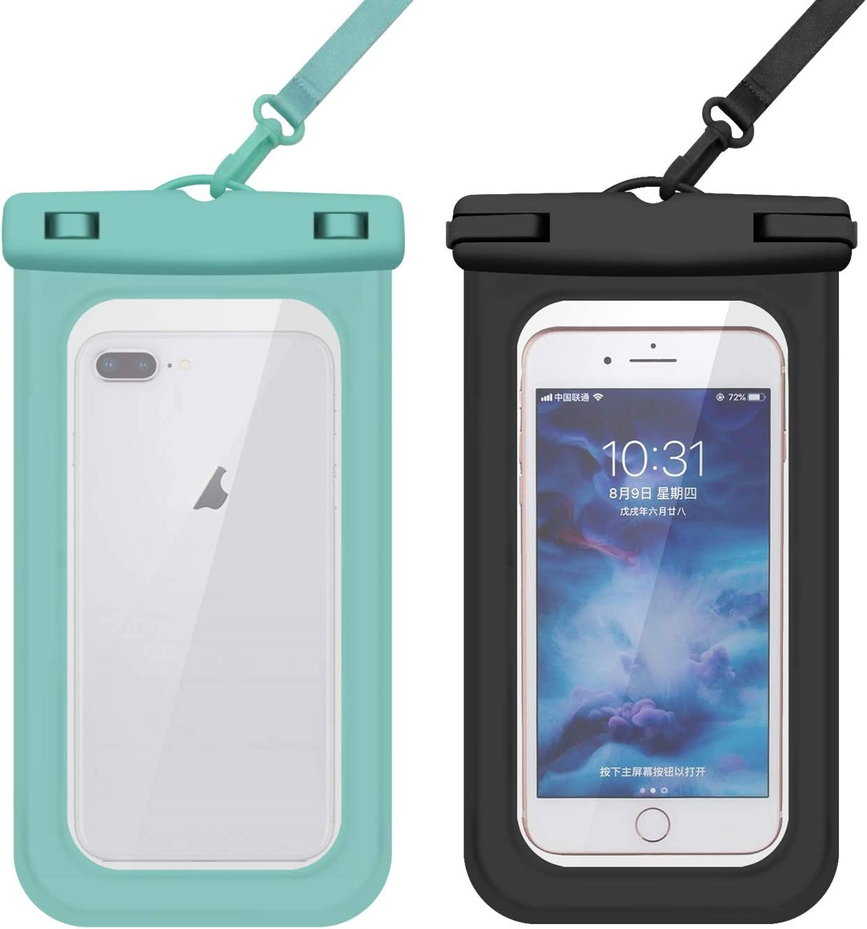 Cexoda Universal Waterproof Case,Waterproof Phone Pouch Compatible,Cellphone Dry Bag Pouch for iPhone 12 Pro Max 11 Pro Max Xs Max XR XS-2Pack (Black&Green)