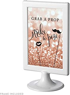 Andaz Press Framed Wedding Party Signs, Glitzy Rose Gold Glitter, 4x6-inch, Grab a Prop & Strike a Pose Photobooth Sign, 1-Pack