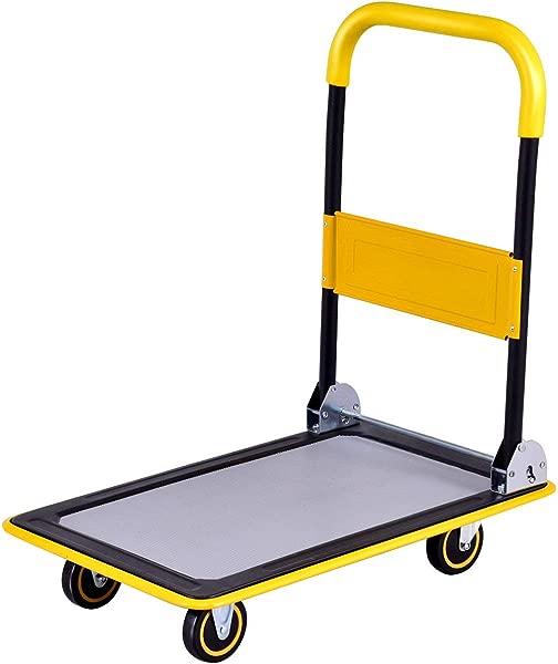 Goplus Folding Platform Cart 330LBS Rolling Flatbed Cart Hand Platform Truck Push Dolly For Loading Yellow