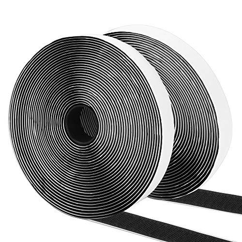 Vegena Klettband Selbstklebend, Klettverschluss Selbstklebend 8M Klettband Selbstklebend Extra Stark Doppelseitiges Klebeband Selbstklebendes Flauschband Hakenband Fliegengitter 20mm Breit Schwarz