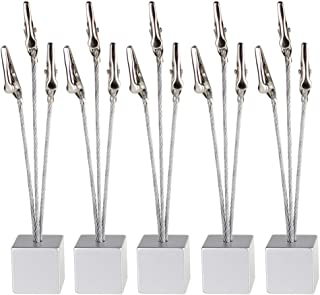Mike Home Cube Base 3-branch Tree Style Memo/Card/Paper/Photo Holder Table Number Holder for Wedding Party Pack of 5 (Silver)