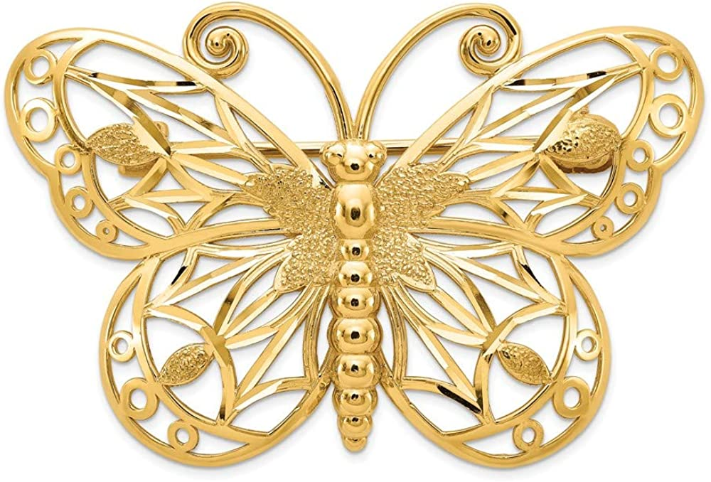 14k Yellow Gold Diamond-Cut and Satin Butterfly Pin