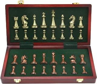 高品質おもちゃゲームチェス 金属光沢のあるチェスの駒ソリッドウッド折りたたみチェス盤ハイグレードプロフェッショナルチェスゲームセット クリエイティブトラディショナルチェス