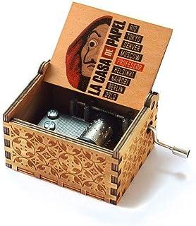 WooMax The Paper House Color Music Box Bella Ciao Musical Box,LA CASA DE PAPEL 18 Note Mechanism Antique Carved Musical Bo...