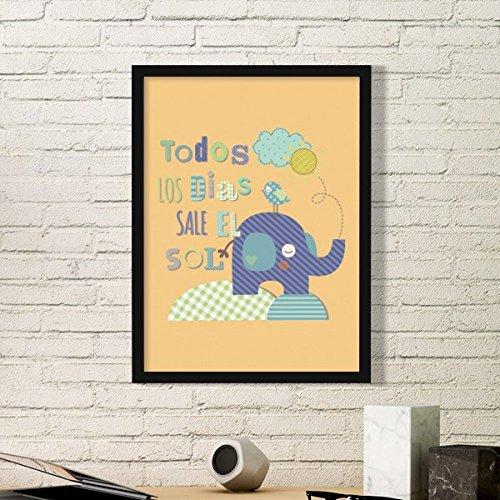 DIYthinker streep olifant vogel Cartoon geel dier eenvoudige fotolijst kunst drukt schilderijen thuis muursticker Gift