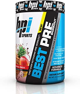 BPI Sports Ketogenic Pre-Workout Supplement - Best Pre-Workout - Carb-Free - Burns Fat for Energy - Helps Preserve Lean Muscle Mass - Improved Focus - Tropical Freeze - 30 Servings - 11.11 oz.