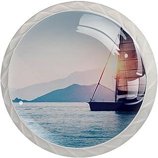 Boutons De Tiroir Verre Cristal Rond Poignées d'armoires tirer 4 pièces,voilier mer soir lumière du soleil