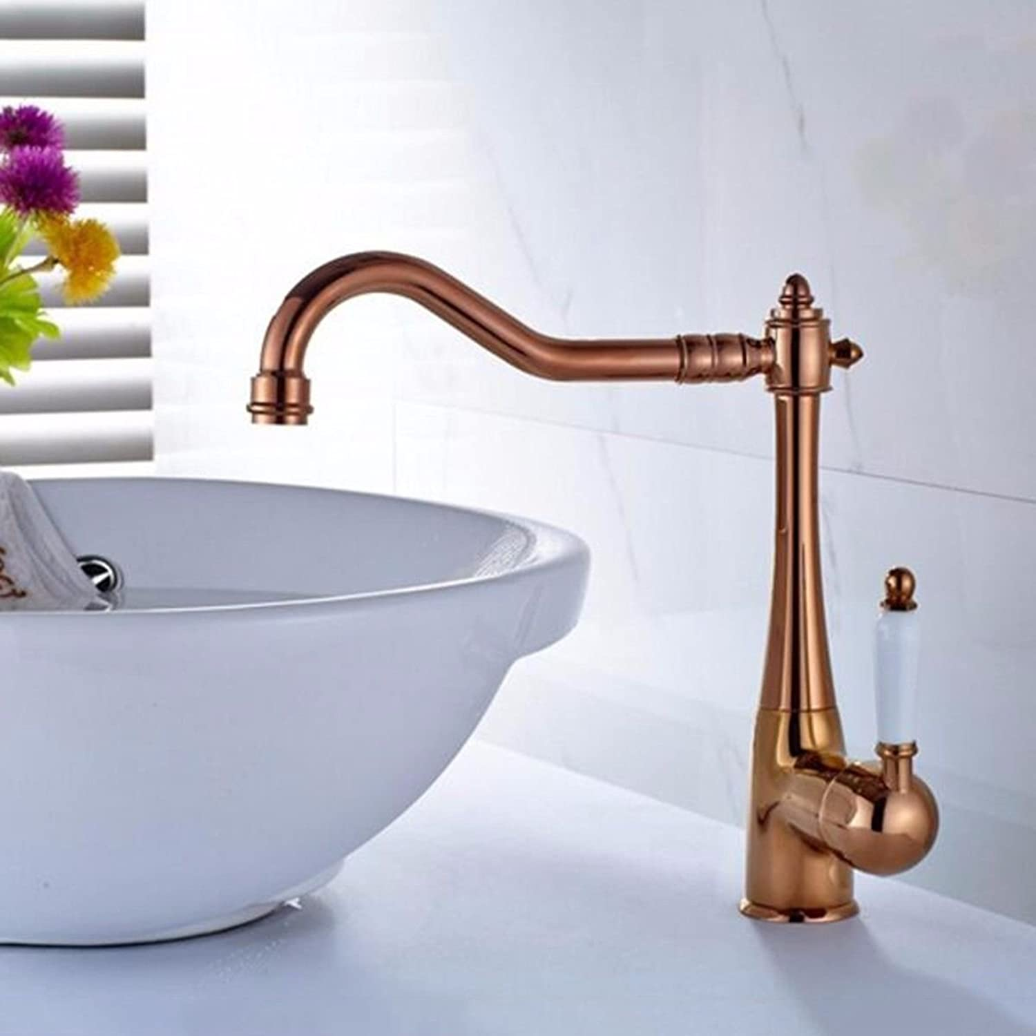 Hlluya Professional Sink Mixer Tap Kitchen Faucet The copper pink gold ceramic handle to redate the hot and cold water faucets antique