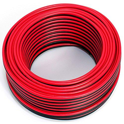 Cable de altavoz 2 x 1,50 mm², 30 m, rojo y negro, CCA, cable de...