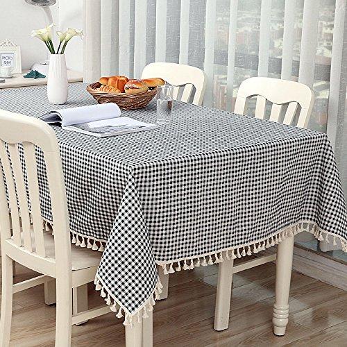 WEN-Nappes Nappe de Style européen Simplicité Petite Nappe Multi-usages Fraîches Nappes Coton et Lin Motif Table de Salle à Manger Famille Comptoir de Table de Thé