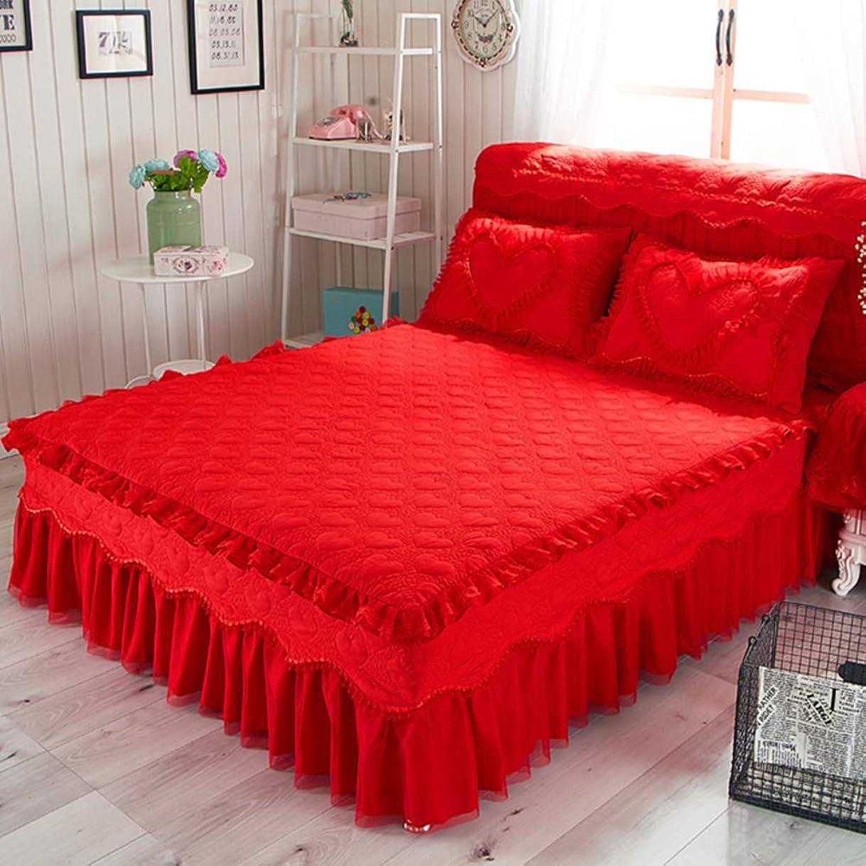 家畜他の場所派生するキルト綿のベッド スカート,プリンセス レース フリル綿手入れが簡単なほこりしわベッド カバー シート追加の寝具- 150x200cm(59x79inch)