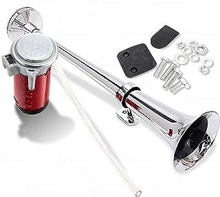 Zone Tech 12V Single Trumpet Air Horn - Premium Quality Single Trumpet Air Horn Chrome + Compressor Super Loud 150db for T...