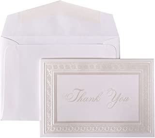 JAM PAPER Blank Thank You Cards Set - Bright White Cards with Pearl Border - 104 Cards & 100 Envelopes