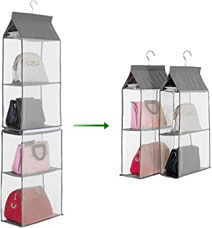 Goolsky 4-Tiers Non-woven Detachable Closet Bags Organizer Handbags Hanging Shelf Collapsible Clothing Accessories Storage...