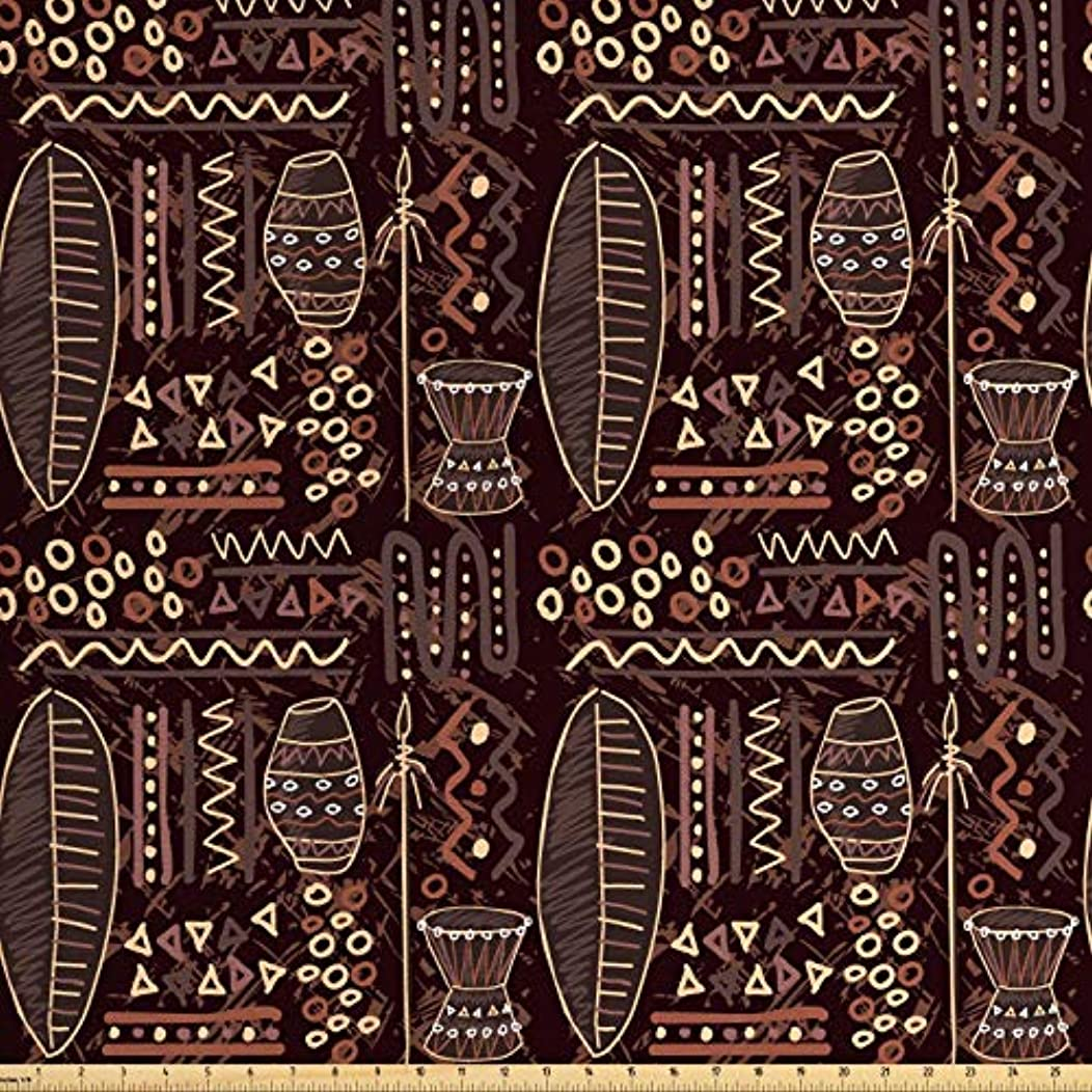 Lunarable Brown Fabric by The Yard, African Ethnic Tribal Image with Geometrical Shapes Artwork Print, Decorative Fabric for Upholstery and Home Accents, 1 Yard, Dark Brown Cocoa and Cream