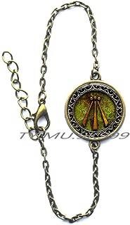 Yao0dianxku Awen Bracelets Occult Jewelry Esoteric Symbol Charm Bracelet,Awen Bracelet,Protection Amulet Flowing Spirit Poem Bard Bracelets.Y255
