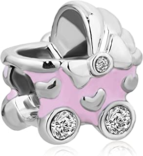 Pink Boy Baby Cz Crystal Carriage Bead Charms For Bracelets
