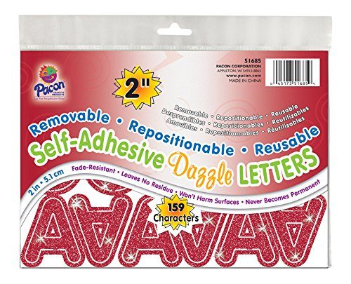 """Pacon 2"""" Self-Adhesive Uppercase Letters, 159-Count, Red Dazzle (51685)"""