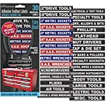 ADHTBXB001 Steellabels'Adhesive' Tool Box Organizer Labels (Blue Edition)-2 Sheet Set, 30 Labels Total