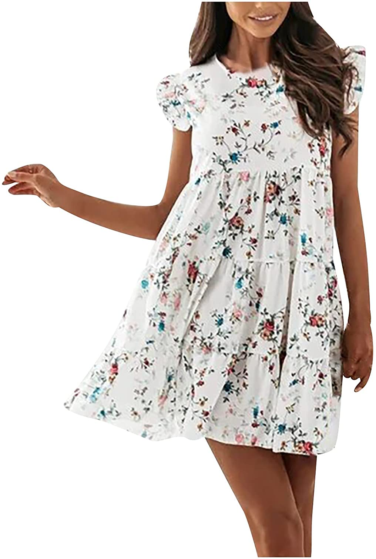 Women Summer Dresses Round Neck Mini Dress Ruffle Sleeve Beach Sundress Floral Print Skirt Casual Ruffle Babydoll Dress