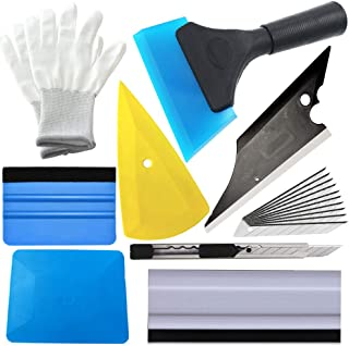 ARTGEAR 9pcs Installation Tool Kit for Car Window Wrapping Tint Vinyl, Vehicle Glass Protective Film Installing Tool, Includes Squeegees, Cutter and Gloves