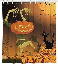 Bonsai Tree Halloween Shower Curtain, Waterproof Pumpkin Bathroom Curtains, Spooky Cat Kids Fabric Shower Curtains Hooks for Bathroom Decorations, 72