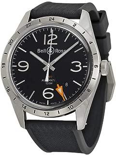 Bell and Ross Vintage Black Dial Black Rubber Mens Watch BRV123-BL-GMT-SRB