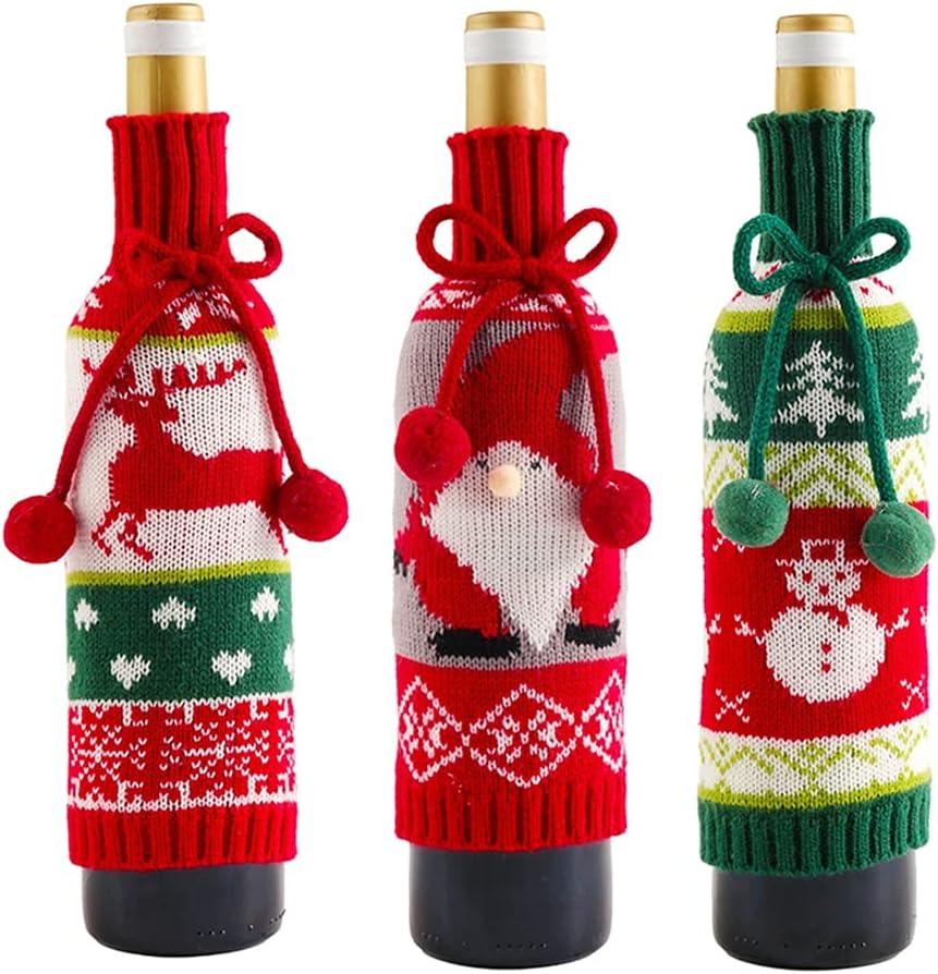 GFDFD Cubiertas de la Botella de Vino de la Navidad de Tejer Holiday Santa Claus Champagne Funda de Botella Rojo Feliz Navidad Casa Decoraciones (Color : A, Size : As The Picture Shows)