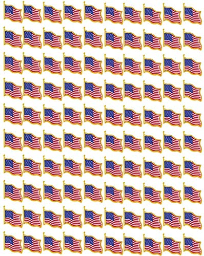 TANG SONG 100PCS American Flag Waving Lapel Pins United States USA Badge Pin Patriotic Enamel Suit Jacket Lapel Pin