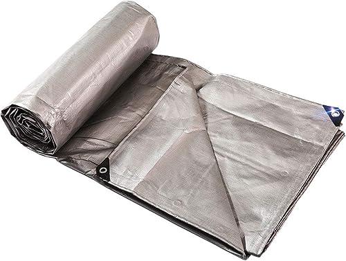 DLewiee Toile Tarp imperméable à l'eau Poly Tarp Toile Toile Robuste pour Camping Bois Bateau Camion Toit de Voiture et résistant aux UV Couleur Argent