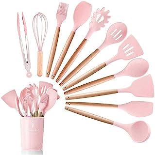 JUYILSU Lot de 12 ustensiles de cuisine en silicone antiadhésifs, résistants à la chaleur, avec poignée en bois, rose