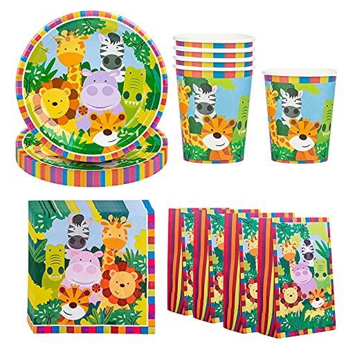 DreamJing Vajilla de cartón de 68 piezas, diseño de animales, para 16 niños, vajilla de cumpleaños para niños y niñas, diseño de selva