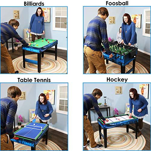Sunnydaze 10 Combination Multi Game Table with Billiards, Push Hockey, Foosball, Ping Pong, and More, 40 Inch