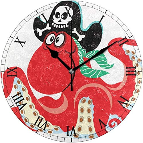 SXXXIT Reloj de Pared Redondo Pulpo de Dibujos Animados Calavera Pirata Reloj de decoración para el hogar Reloj para Oficina en casa
