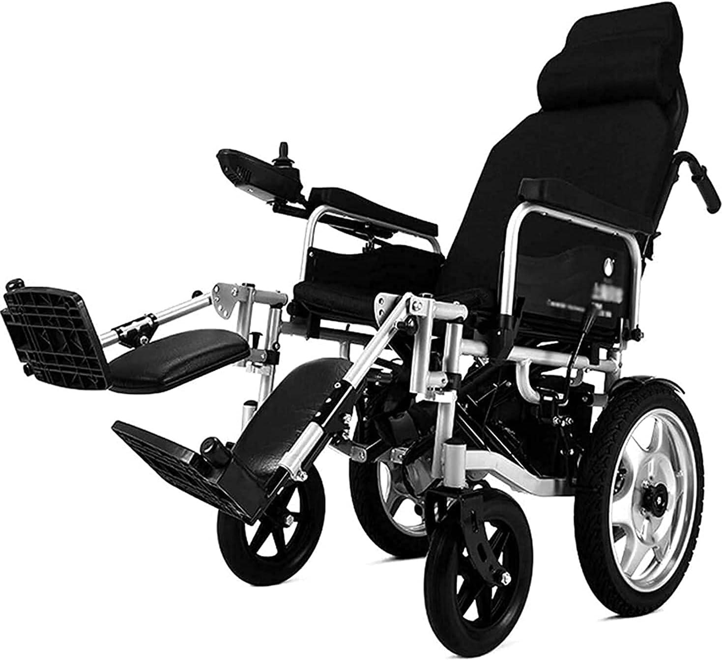 Silla de ruedas eléctrica para trabajo pesado con reposacabezas, silla eléctrica portátil plegable y liviana con cinturón de seguridad, respaldo ajustable y sillas de ruedas motorizadas con pedal
