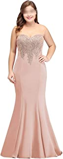 Women's Plus Size Dusty Pink Formal Evening Gowns Black Sleeveless Long Party Dresses