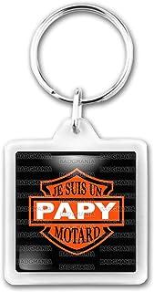 Porte-Cl/és Carr/é Plastique Je suis Un Papy Motard Humour Id/ée Cadeau Homme Grands Parents Anniversaire F/ête Harley Fond Noir