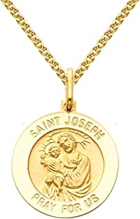 14k Yellow Gold Religious Saint Joseph Medal Pendant with 1.5mm Flat Open Wheat Chain Necklace