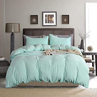 JYOY DD Wash Cotton Duvet Cover Sets 2 Pieces, Ultra Soft Comforter Sets Zipper Closure Mint Green Twin Bedding Sets for Boy/Girls 1 Pillowcase