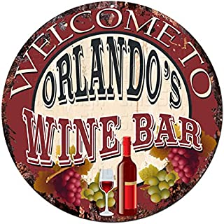 Welcome to the ORLANDO'S WINE BAR Chic Tin Sign Rustic Shabby Vintage style Retro Kitchen Bar Pub Coffee Shop man cave Decor Gift Ideas