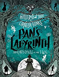 'Pan's Labyrinth: The Labyrinth of the Faun' book cover with spooky forest and fairies and a girl walking into it